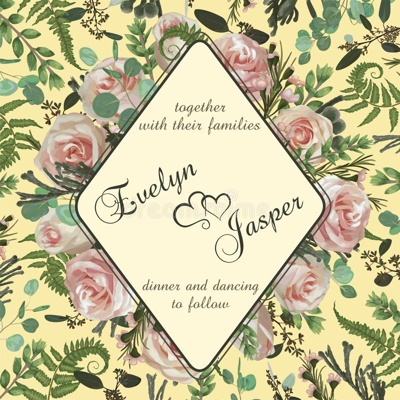 Wedding vertical floral invitation, invite card. Vector watercolor set green forest fern, herbs, flowers, brunia, eucalyptus,. Branches boxwood, buxus vector illustration