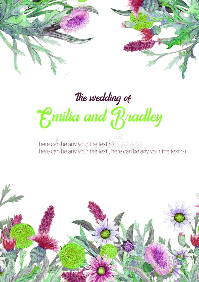 Wedding vertical frame of wild flowers. Watercolor. Flower arrangement. Greeting card template design. Invitation stock illustration