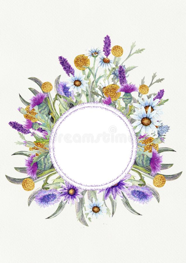 Wedding vertical frame of wild flowers. Watercolor. Flower arrangement. Greeting card template design. Invitation stock photos