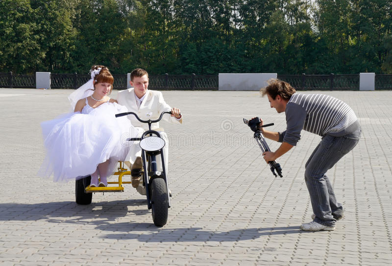 Wedding videooperator royalty free stock photography
