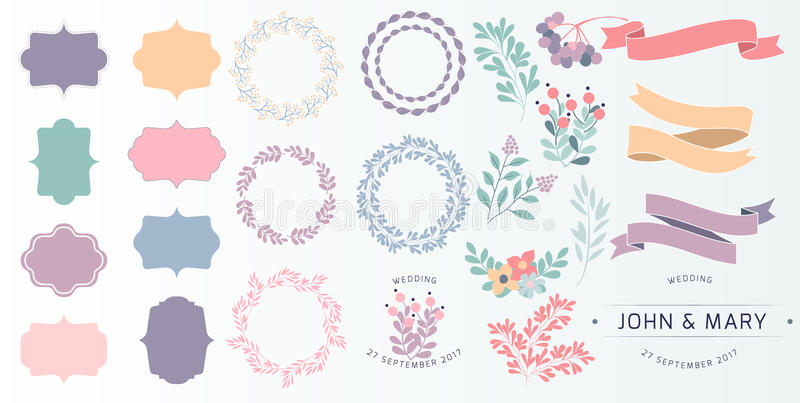 Wedding vintage elements big collection. Romantic hand drawn vector floral set with frames, flowers, leaves and ribbons royalty free illustration