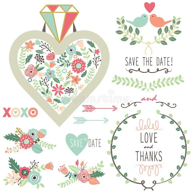 Wedding Vintage Flora Diamond Elements. A Vector Illustration of Wedding Vintage Flora Diamond Elements vector illustration