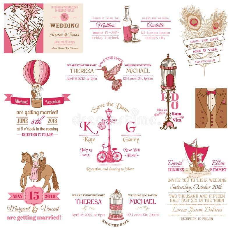 Wedding Vintage Invitation Collection royalty free illustration