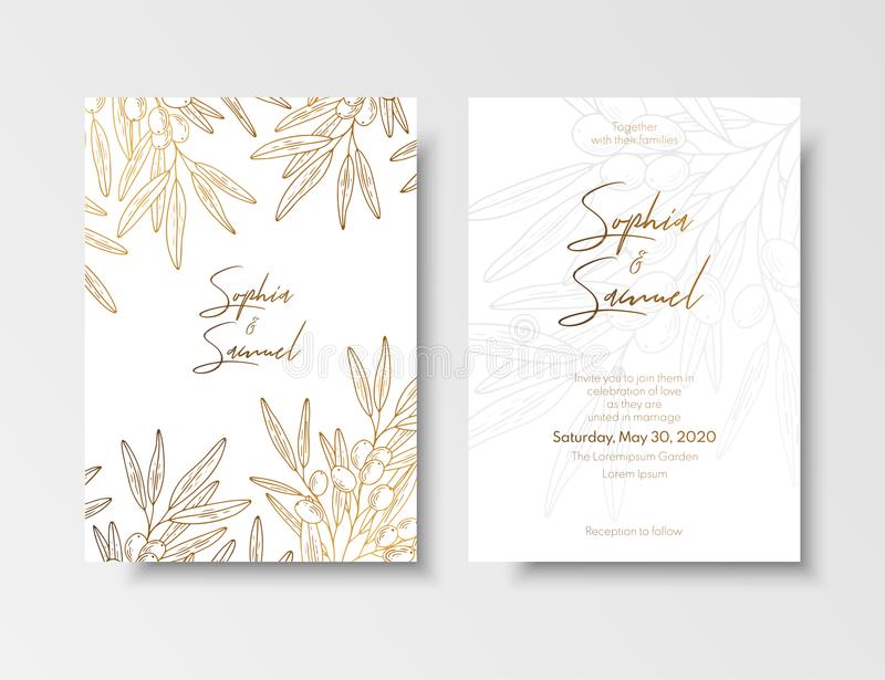 Wedding vintage invitation, save the date card with golden berries and branches sea buckthorn. Elegant gold botanical stock illustration