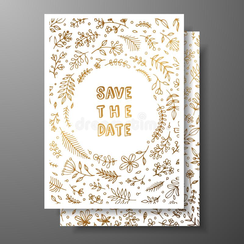 Wedding vintage invitation,save the date card with golden twigs and flowers. Cover design with gold botanical ornaments vector illustration