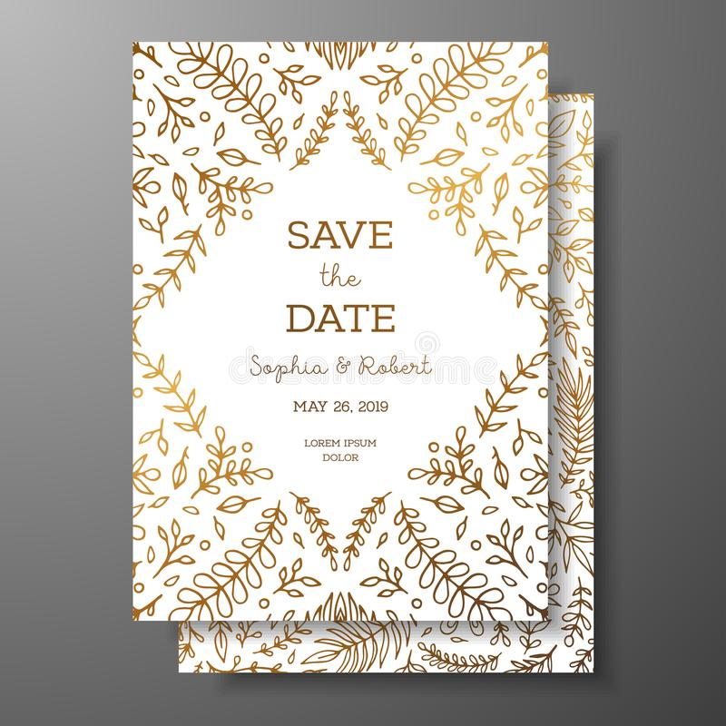 Wedding vintage invitation,save the date card with golden twigs and flowers. Cover design with gold botanical ornaments stock illustration