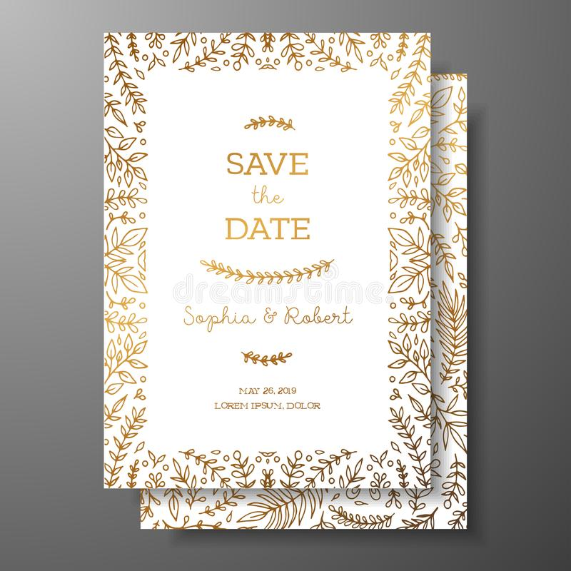 Wedding vintage invitation,save the date card with golden twigs and flowers. Cover design with gold botanical ornaments royalty free illustration