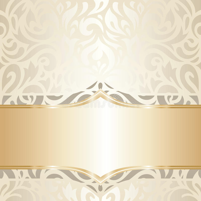 Download Wedding Vintage Wallpaper Design White Gold Vector Stock