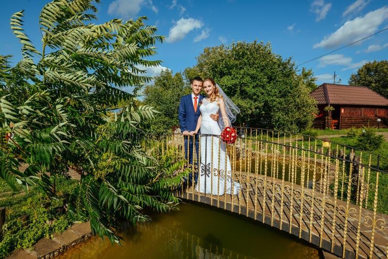 Wedding walk on the bridge royalty free stock photography