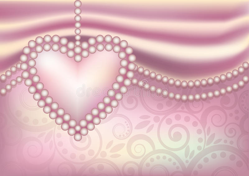 Wedding Wallpaper With Pearl Heart Stock Vector