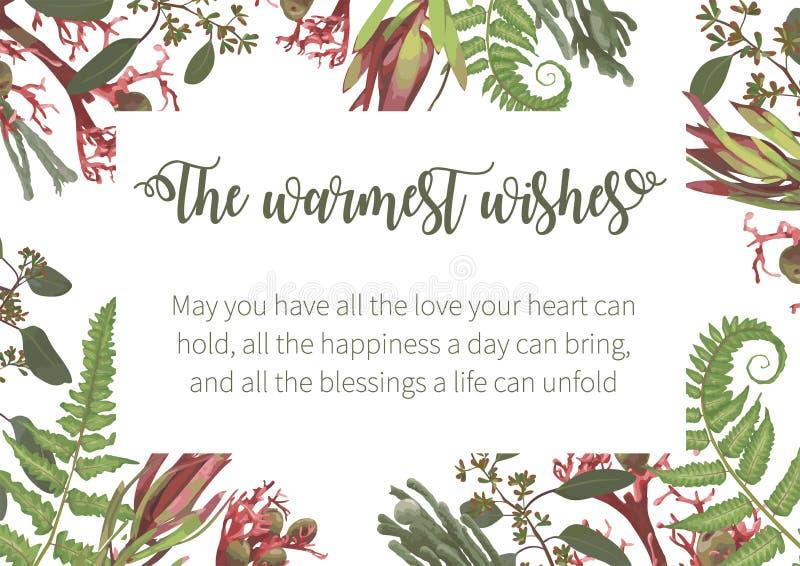 Wedding, watercolor seasonal flower card.Plants, leaves, branches, brunia, blooming eucalyptus, leucadendron, gaultheria, salal,. Jatropha vector design frame stock illustration
