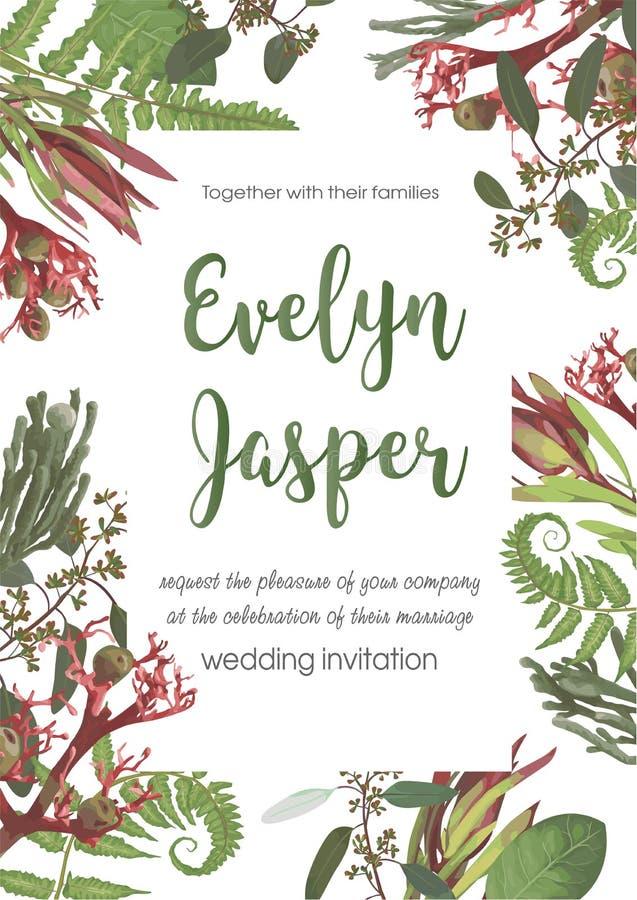 Wedding, watercolor seasonal flower card.Plants, leaves, branches, brunia, blooming eucalyptus, leucadendron, gaultheria, salal,. Jatropha vector design frame vector illustration
