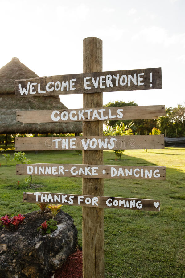 Wedding welcome sign. Welcome sign marking the location of a wedding royalty free stock image