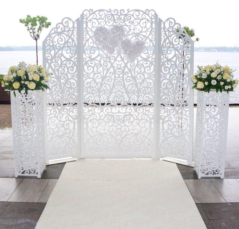 Wedding white altar stock photo