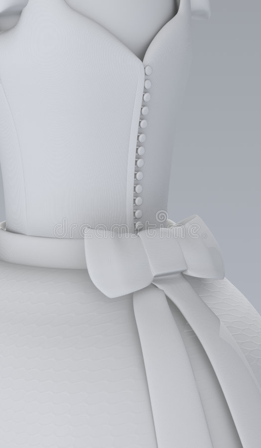 Wedding or White Dress. Image of a 3d created wedding dress from the back vector illustration