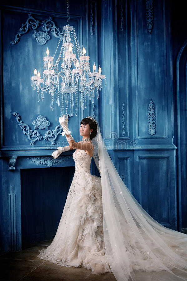 Wedding woman portrait. Young wedding woman portrait. On blue furniture background stock images