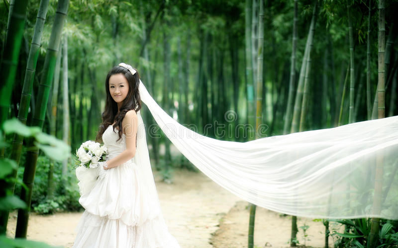 Wedding woman portrait. Young wedding woman portrait. On bamboo background royalty free stock images