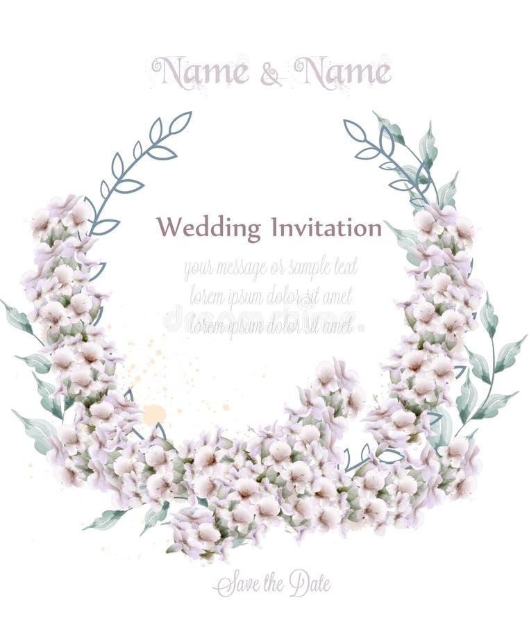 Wedding wreath white lavender watercolor Vector. Beautiful floral decor cards. Wedding wreath white lavender watercolor Vector. Beautiful floral decor card vector illustration