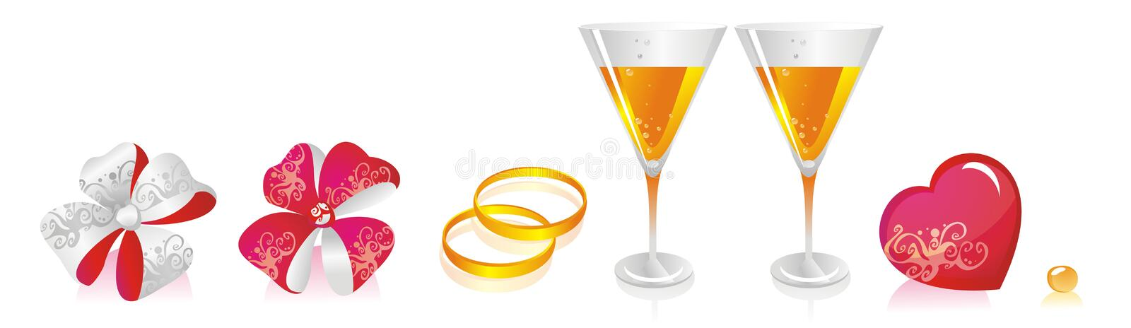 WeddingCollection. Holiday collection of wedding accessories stock illustration
