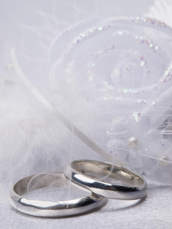 Weddings Rings And Floral  Decoration Stock Photography