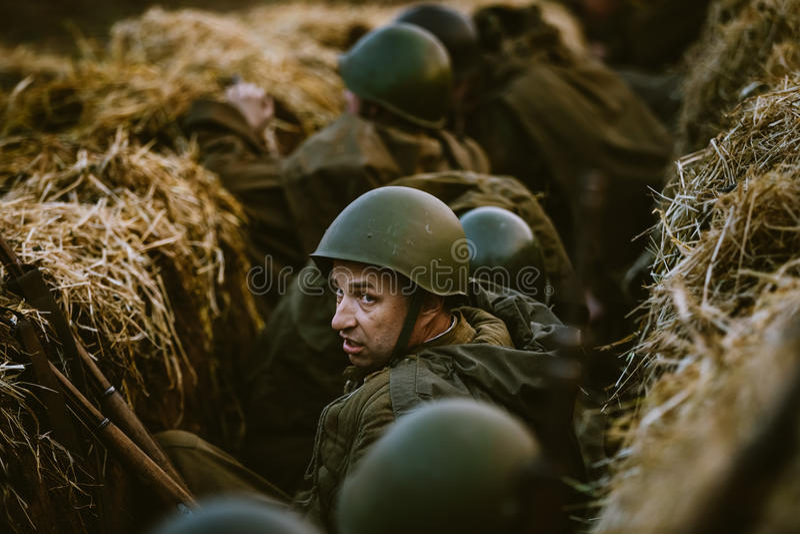 Wederopbouw van Slag tijdens specifieke gebeurtenissen royalty-vrije stock fotografie
