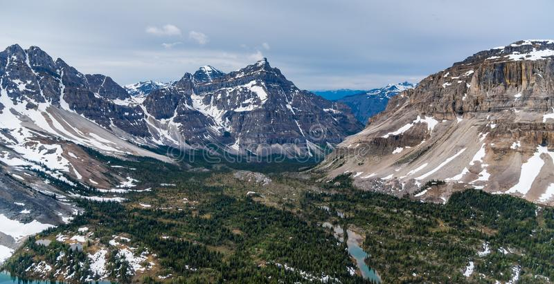 Wedge Mountain aerial view with cloudy sky Canada stock photos