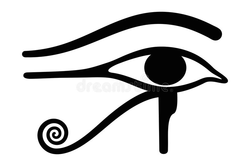 Wedjat eye horusen Forntida egyptiskt symbol stock illustrationer