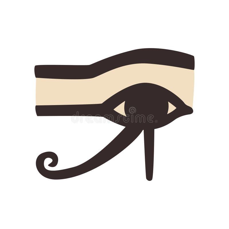 Wedjat of oog van Horus Oud Egyptisch symbool van bescherming, koninklijke macht en goede gezondheid Vlak vectorelement voor stock illustratie