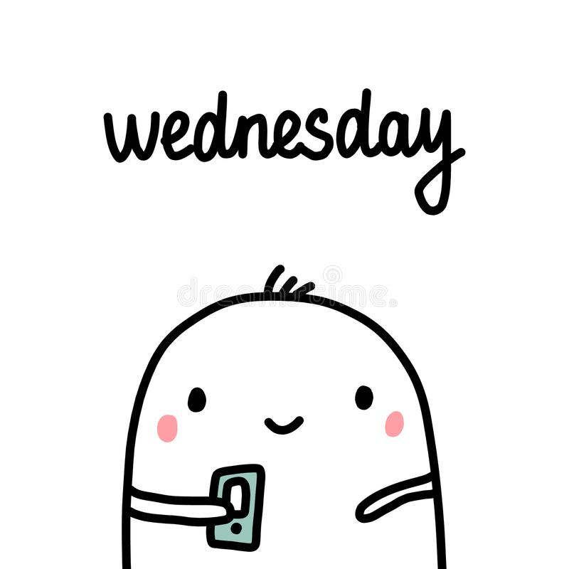 Wednesday hand drawn illustration with cute marshmallow holding smartphone stock illustration