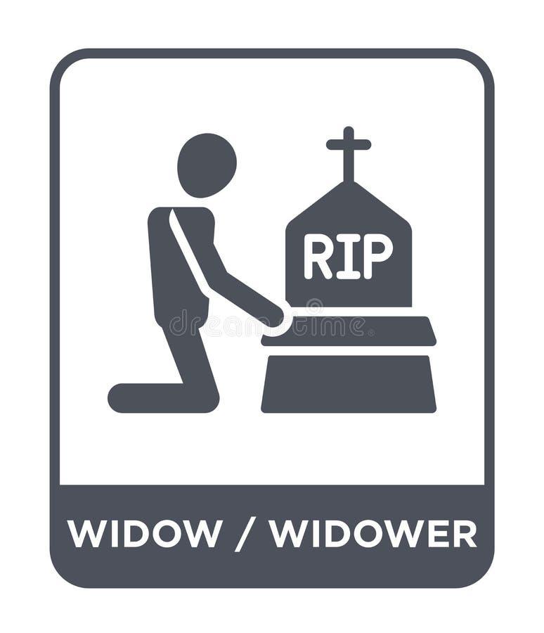 weduwe/weduwnaarpictogram in in ontwerpstijl weduwe/weduwnaarpictogram op witte achtergrond wordt geïsoleerd die weduwe/weduwnaar royalty-vrije illustratie