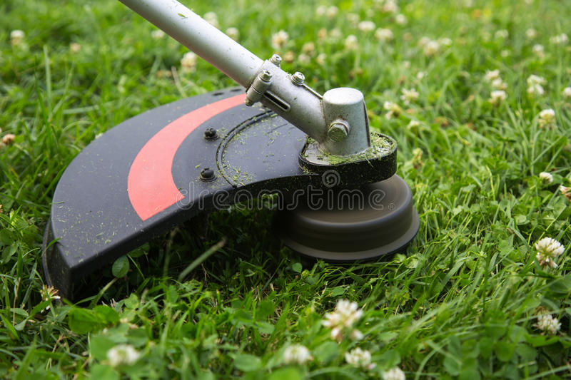 Weed trimmer. Mowing the grass with weed trimmer stock photo