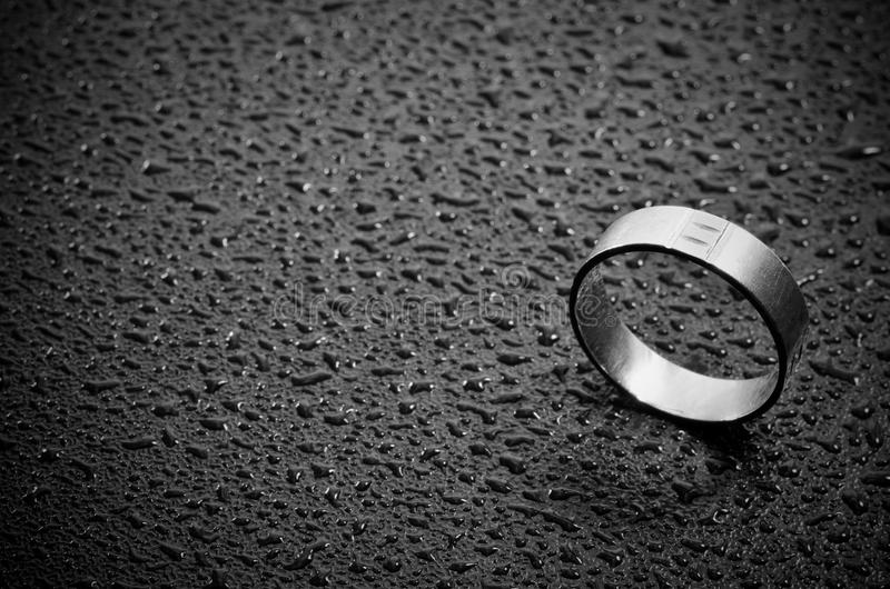 Weeding ring. Close-up of a weeding ring on dark background royalty free stock photos
