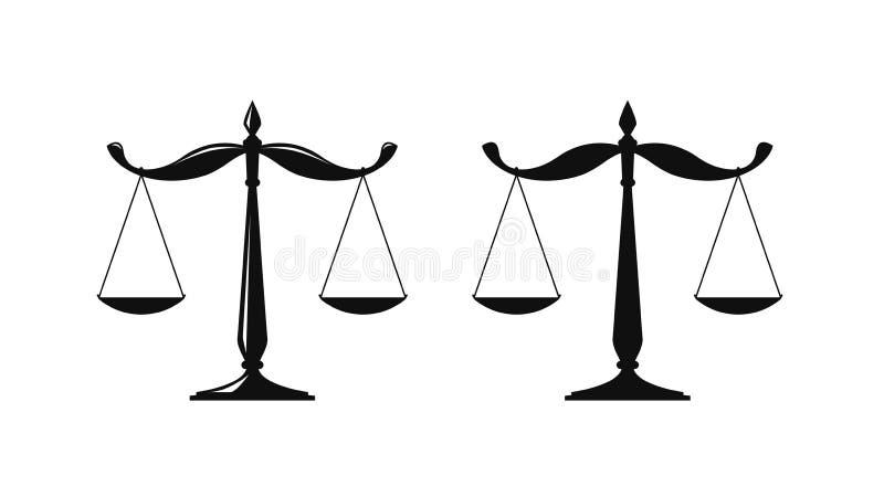 Weegschaal, gerechtelijk schalenembleem Notaris, rechtvaardigheid, advocaatpictogram of symbool Vector illustratie royalty-vrije illustratie