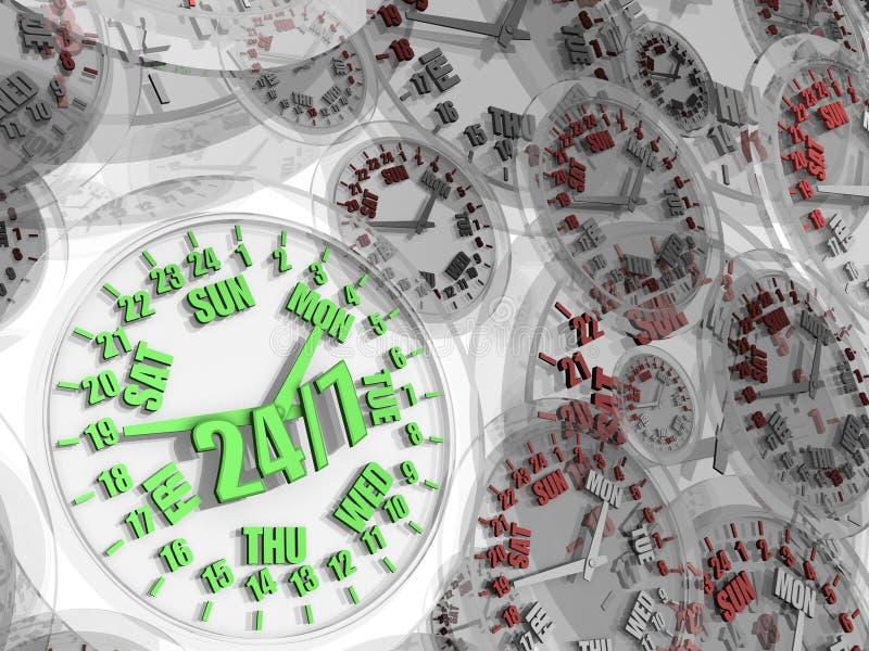 Week clock. Full-time service 24/7 royalty free illustration