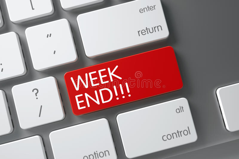 Week End CloseUp of Keyboard. 3D. royalty free stock photos