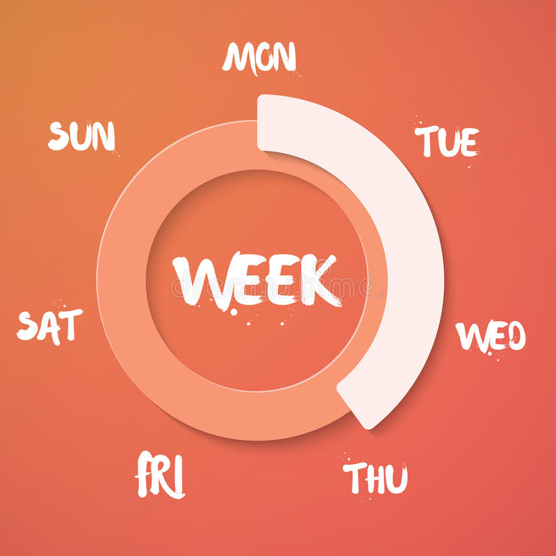 Week Loading Vector Illustration. Vector Weekend Countdown Backg royalty free illustration