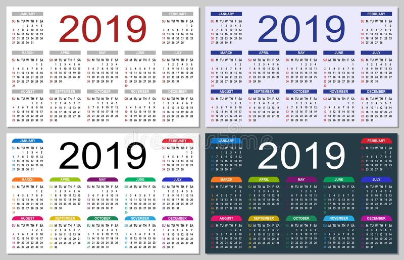 set of colorful calendars 2019 stock illustration illustration of