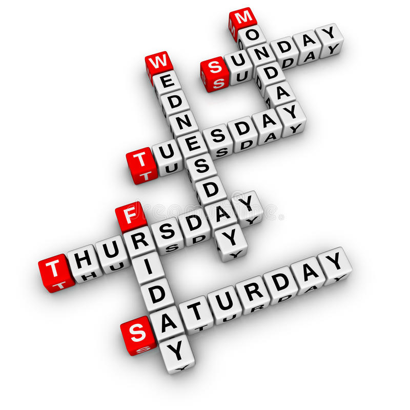Weekdays crossword stock illustration