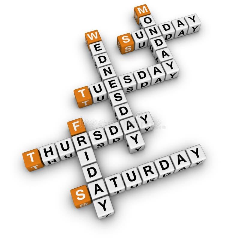 Weekdays crossword royalty free illustration