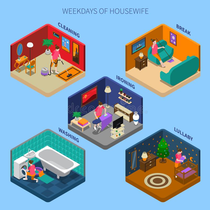 Weekdays Of Housewife Isometric Compositions stock illustration