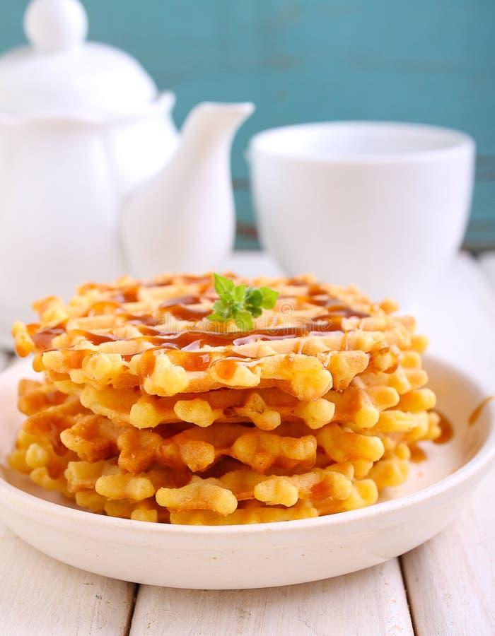 Weekend breakfast: waffles stock photography