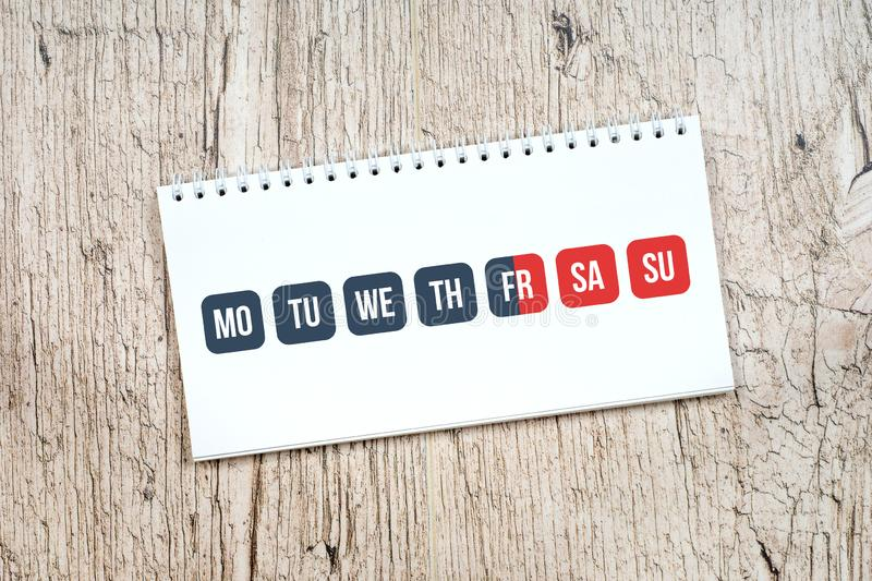 Gray work days and red weekend calendar, weekend concept royalty free stock image