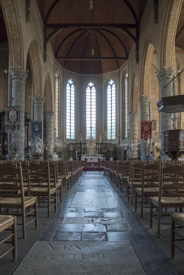 Interior of the Church of our Lady Onze-Lieve-Vrouwekerk Damme royalty free stock images