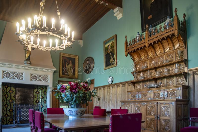 Dining room in Loppem Castle Bruges. Loppem Castle is a castle situated in Loppem in the municipality of Zedelgem, near Bruges in West Flanders, in the Flemish royalty free stock photography