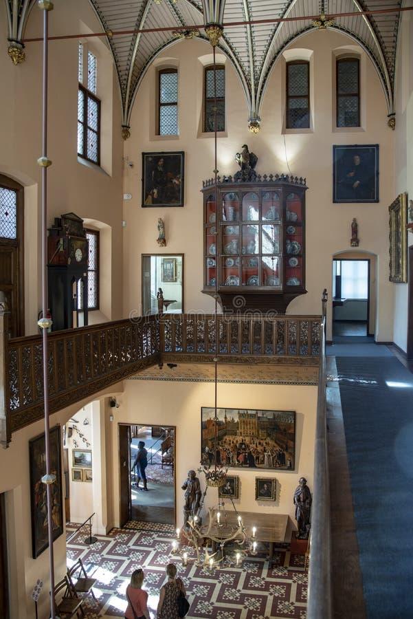 Entrance hall in Loppem Castle Bruges. Loppem Castle is a castle situated in Loppem in the municipality of Zedelgem, near Bruges in West Flanders, in the stock image