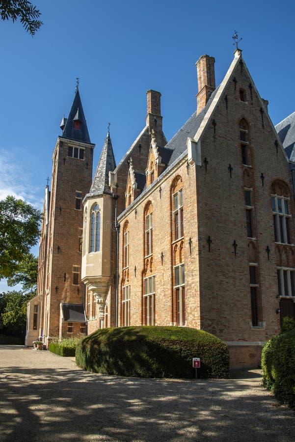 Frontage of Loppem Castle Bruges. Loppem Castle is a castle situated in Loppem in the municipality of Zedelgem, near Bruges in West Flanders, in the Flemish royalty free stock images