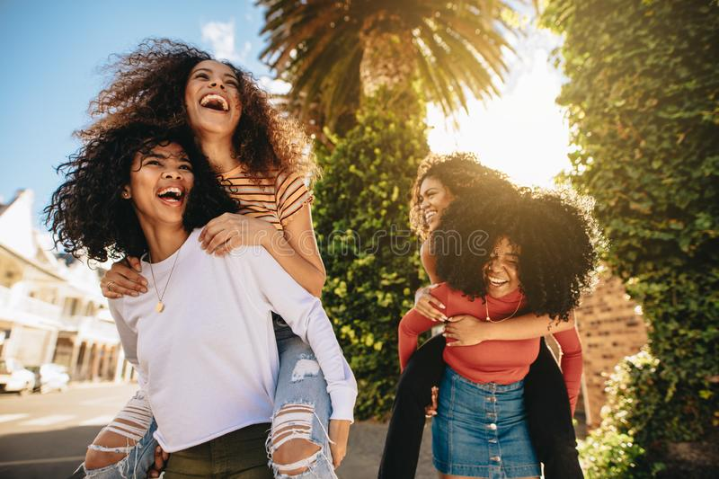 Weekend fun with best friends royalty free stock photography