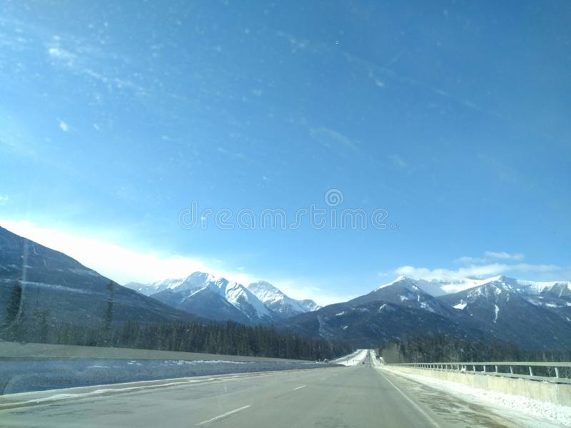 Roaming around Banff, Alberta, Calgary in winter. Weekend getaway to Banff National Park, Alberta. The road view was amazing royalty free stock image
