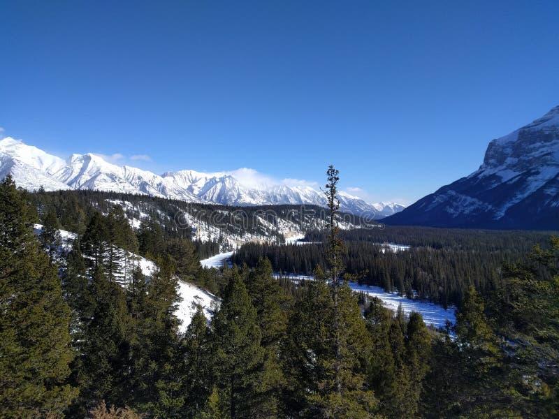 Roaming around Banff, Alberta, Calgary in winter. Weekend getaway to Banff National Park, Alberta. The road view was amazing royalty free stock photo