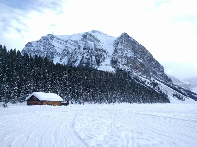 Roaming around Banff, Alberta, Calgary in winter. Weekend getaway to Banff National Park, Alberta. The road view was amazing stock photo